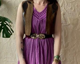 1970s Lilac gauze Grecian dress - Size S-M