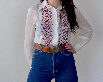 1990s tooled leather belt with floral buckle - Size M L