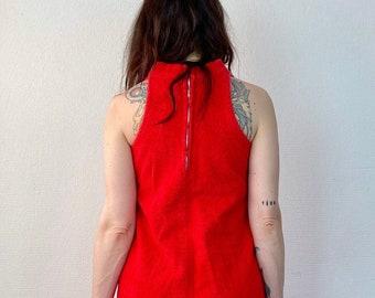 1970s red terry cloth mini dress- Size XS