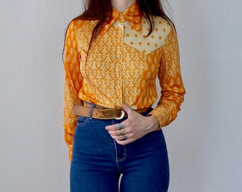 1970s orange psychedelic print polyester shirt - Size XS S