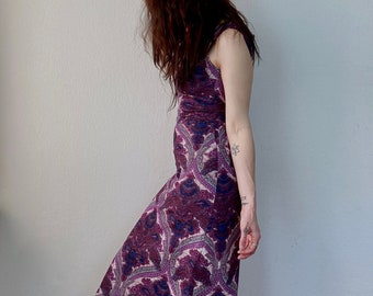 1970s violet paisley tapestry dress- Size XS