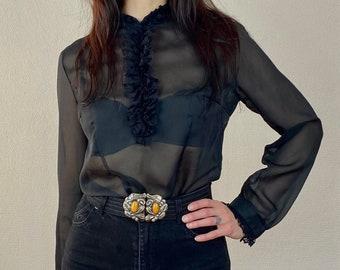 1960s black chiffon sheer blouse - Size S M
