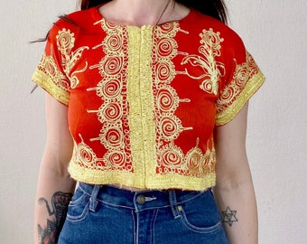 1970s gold embroidered Moroccan top - Size XS