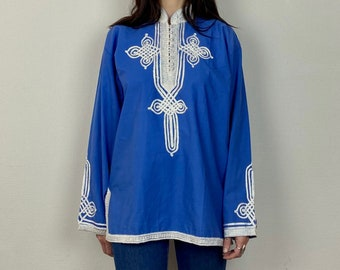 1970s Ribbon embroidered Moroccan shirt - Size M