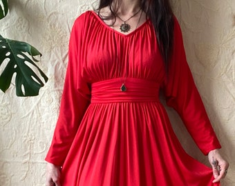 1970s dreamy red goddess maxi dress - Size XS