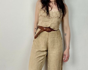 1990s Beige embroidered top and pants set - Size M L