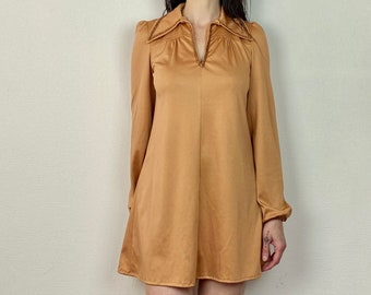1970s Copper trim mini dress - Size S