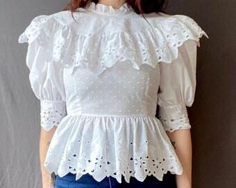1970s white lace peasant blouse - Size XXS