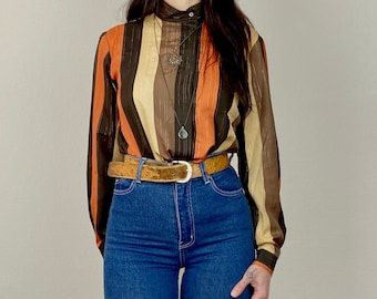1970s Orange, brown and gold metallic striped blouse - Size  S