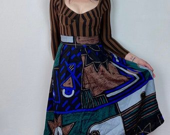 1990s abstract print skirt  - Size M