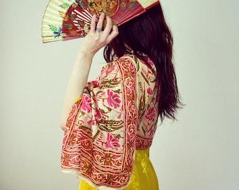 1970s floral block print silk scarf