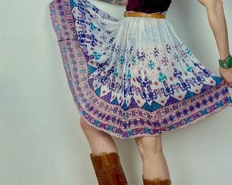 1970s Southwest metallic India skirt - Free size