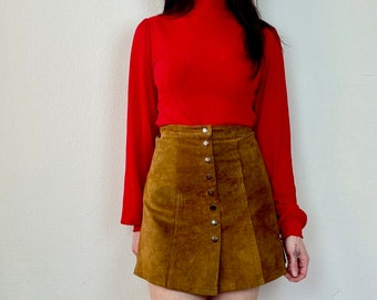 1970s suede button up mini skirt  - Size XS