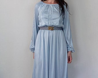 1970s pastel blue hostess dress - Size S