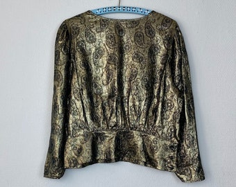 1980s black & gold blouse - Size M L