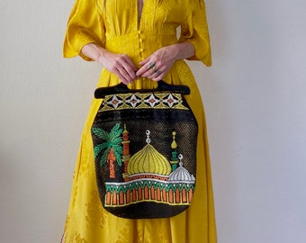 RESERVED! 1970s Arabian nights bead embellished hand bag.