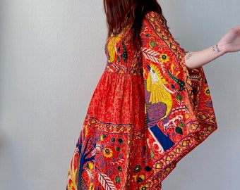 1970s Red smock bodice batik maxi dress - Size S M