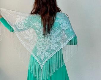 1970s silver lurex fringe shawl