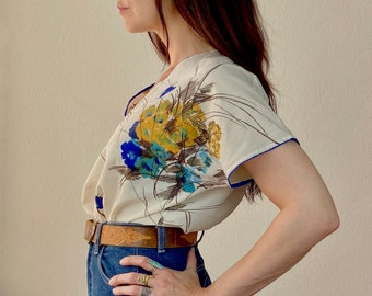 1970s floral polyester shirt - Size S M