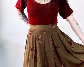 1970s pheasant print skirt - Size M