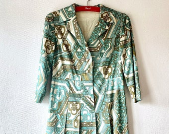 1960s geometric print shirtdress - Size S M