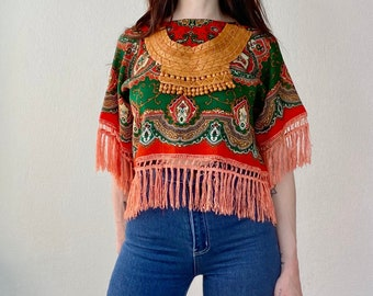 1970s African hand sewn leather bib necklace