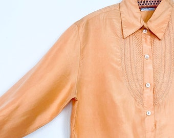 1970s apricot embroidered silk blouse - Size M-L