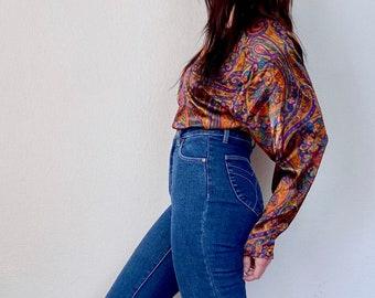 1980s Satin paisley print blouse - Size M