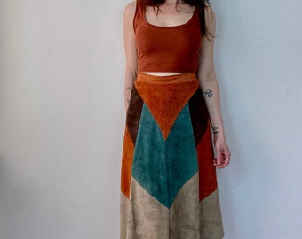 1970s patchwork suede skirt  - Size M