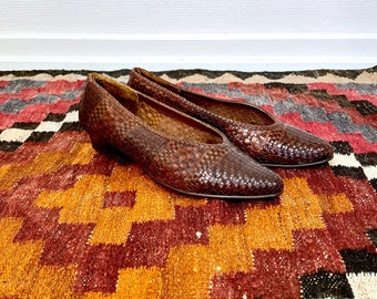 1980s woven leather pumps - size 39