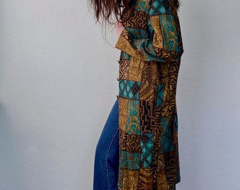 1990s abstract print jacket dress - Size S-L