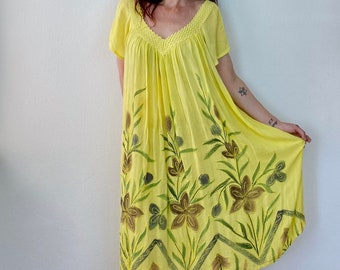 1970s yellow painted gauze dress - Size L