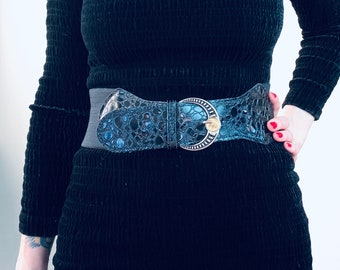 1980s elastic lacquer belt - Onesize