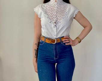 1960s Edwardian inspired lace blouse - Size S