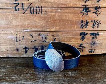 1980s Midnight blue leather belt - Size S - L