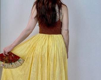 1970s yellow Indian gauze skirt - Free size