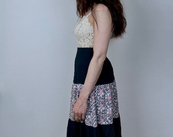 1970s liberty print peasant skirt - Size M