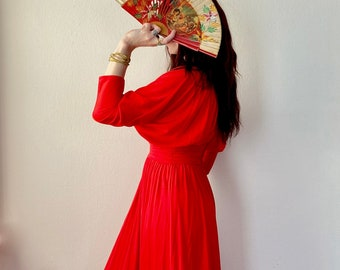 1970s red maxi dress - Size S