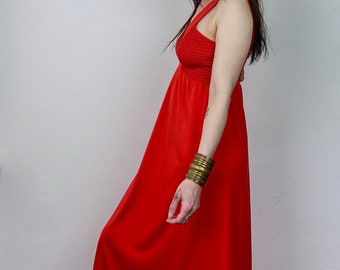 1970s red smock maxi dress - Size M-L