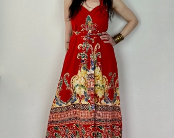 1970s halter neck batik maxi dress - Size S M