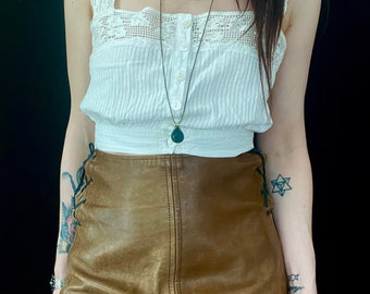 1970s lace up leather skirt  - Size S M