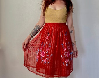 1970s Silver lurex India skirt - Size XS or S