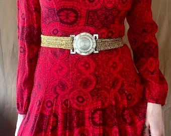 1970s Brown & gold metallic warrior belt - Size M-L