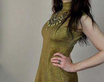 1970s Studio 54 gold maxi dress - Size S