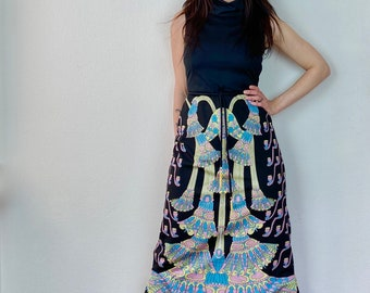 1970s Art deco print maxi dress - Size S M