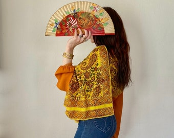 1970s paisley block print silk scarf