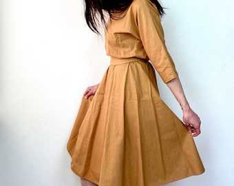 1980s Mustard polka dot belted dress - Size S M