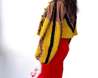 1980s Avant Garde applique cardigan - Size S-M