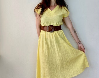 1970s yellow cotton dress - Size S