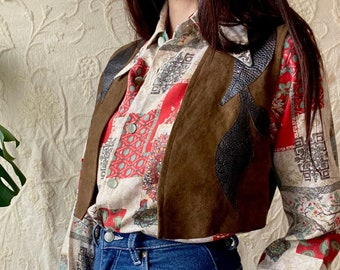1970s novelty print shirt - Size S